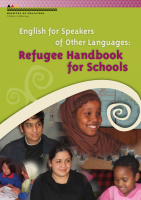 Refugee students with learning materials.