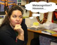 "Teacher with thought bubble saying ""metacognition""."